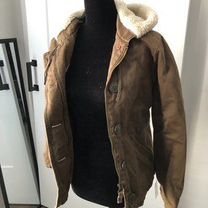 J Crew Quilted Utility Jacket w/ Sherpa Lined Hood